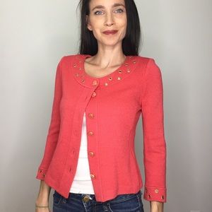 St. John Coral Grommet Knit Sweater Jacket